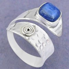 3.19cts solitaire natural blue kyanite 925 silver adjustable ring size 8 t8730