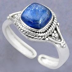 3.29cts solitaire natural blue kyanite 925 silver adjustable ring size 9 t8712