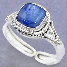 3.29cts solitaire natural blue kyanite 925 silver adjustable ring size 8.5 t8707