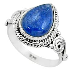 2.43cts solitaire natural blue kyanite 925 sterling silver ring size 5 t6062