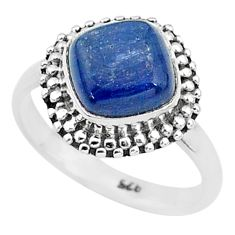 3.45cts solitaire natural blue kyanite 925 sterling silver ring size 5 t6068
