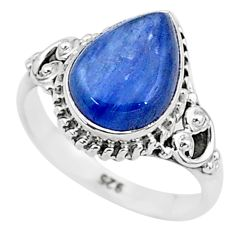 2.43cts solitaire natural blue kyanite 925 sterling silver ring size 5 t6080
