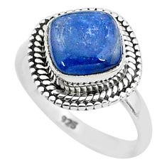 3.12cts solitaire natural blue kyanite 925 sterling silver ring size 5 t6090