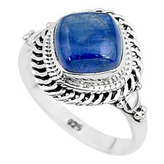 3.29cts solitaire natural blue kyanite 925 sterling silver ring size 6 t6038