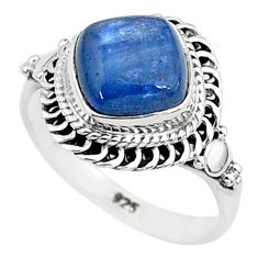 3.08cts solitaire natural blue kyanite 925 sterling silver ring size 6 t6083