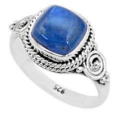 3.31cts solitaire natural blue kyanite 925 sterling silver ring size 6 t6087