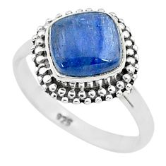 3.29cts solitaire natural blue kyanite 925 sterling silver ring size 6 t6096