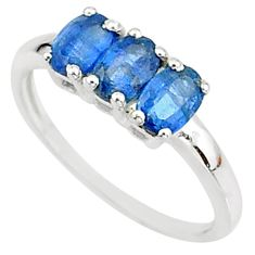 2.50cts solitaire natural blue kyanite 925 sterling silver ring size 6 t7596