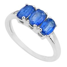 2.89cts solitaire natural blue kyanite 925 sterling silver ring size 7 t10979