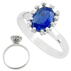 2.23cts solitaire natural blue kyanite 925 sterling silver ring size 7 t12590