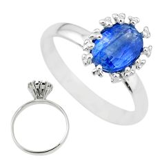 2.15cts solitaire natural blue kyanite 925 sterling silver ring size 7 t12591