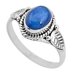 2.30cts solitaire natural blue kyanite 925 sterling silver ring size 7 t2363