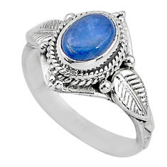 2.13cts solitaire natural blue kyanite 925 sterling silver ring size 7 t2382