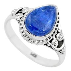 2.53cts solitaire natural blue kyanite 925 sterling silver ring size 7 t6071