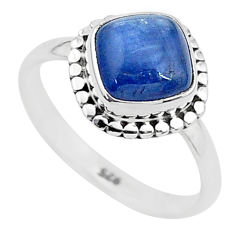 3.29cts solitaire natural blue kyanite 925 sterling silver ring size 7 t6073