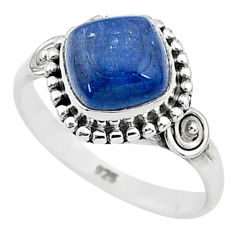 3.26cts solitaire natural blue kyanite 925 sterling silver ring size 7 t6079