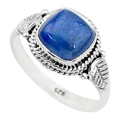 3.29cts solitaire natural blue kyanite 925 sterling silver ring size 7 t6081