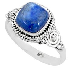 3.26cts solitaire natural blue kyanite 925 sterling silver ring size 7 t6086