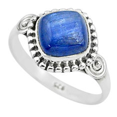 3.46cts solitaire natural blue kyanite 925 sterling silver ring size 7 t6093