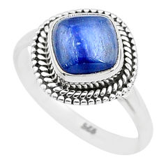 3.06cts solitaire natural blue kyanite 925 sterling silver ring size 7 t6097