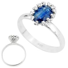 1.85cts solitaire natural blue kyanite 925 sterling silver ring size 7 t7233