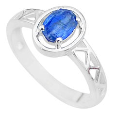 1.42cts solitaire natural blue kyanite 925 sterling silver ring size 7 t8862