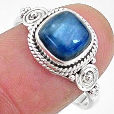 3.29cts solitaire natural blue kyanite 925 sterling silver ring size 8 t11322