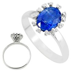 2.42cts solitaire natural blue kyanite 925 sterling silver ring size 8 t12588