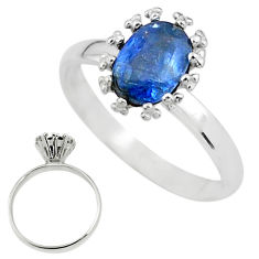 2.14cts solitaire natural blue kyanite 925 sterling silver ring size 8 t12589