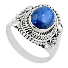 4.23cts solitaire natural blue kyanite 925 sterling silver ring size 8 t15453