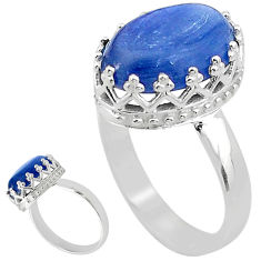 6.57cts solitaire natural blue kyanite 925 sterling silver ring size 8 t20415