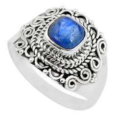 1.45cts solitaire natural blue kyanite 925 sterling silver ring size 8 t2228