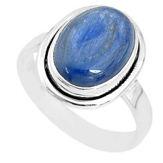 6.02cts solitaire natural blue kyanite 925 sterling silver ring size 8 t2428