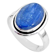 6.31cts solitaire natural blue kyanite 925 sterling silver ring size 9 t2443