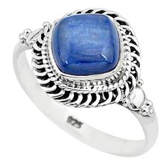 3.26cts solitaire natural blue kyanite 925 sterling silver ring size 9 t6084