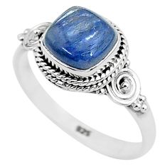 3.05cts solitaire natural blue kyanite 925 sterling silver ring size 9 t6099