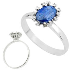 2.61cts solitaire natural blue kyanite 925 sterling silver ring size 9 t7248