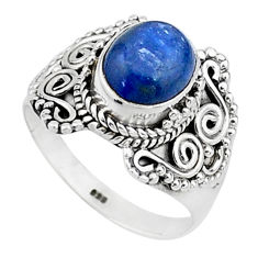 4.37cts solitaire natural blue kyanite 925 sterling silver ring size 8.5 t15442