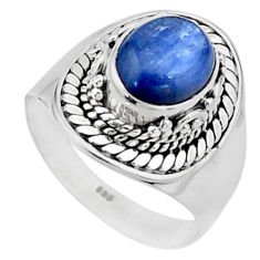 4.50cts solitaire natural blue kyanite 925 sterling silver ring size 8.5 t15444