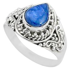 2.22cts solitaire natural blue kyanite 925 sterling silver ring size 6.5 t2226