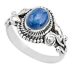 2.32cts solitaire natural blue kyanite 925 sterling silver ring size 6.5 t2392