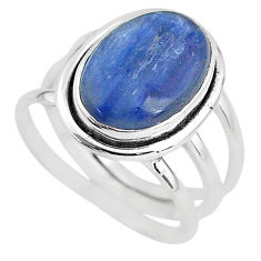 6.83cts solitaire natural blue kyanite 925 sterling silver ring size 7.5 t2405