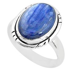 6.28cts solitaire natural blue kyanite 925 sterling silver ring size 7.5 t2409