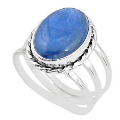 6.04cts solitaire natural blue kyanite 925 sterling silver ring size 7.5 t2422