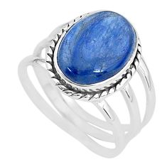 6.76cts solitaire natural blue kyanite 925 sterling silver ring size 8.5 t2427