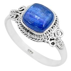 3.05cts solitaire natural blue kyanite cushion 925 silver ring size 9 t6072