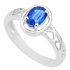 1.57cts solitaire natural blue kyanite oval shape 925 silver ring size 9 t8873