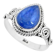 2.44cts solitaire natural blue kyanite pear shape 925 silver ring size 7 t6067