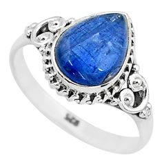 2.58cts solitaire natural blue kyanite pear shape 925 silver ring size 8 t6063