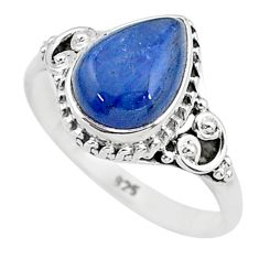 2.53cts solitaire natural blue kyanite pear shape 925 silver ring size 8 t6082